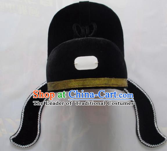 Traditional Chinese Beijing Opera Niche Hair Accessories Black Hats Peking Opera Lang Scholar Headwear