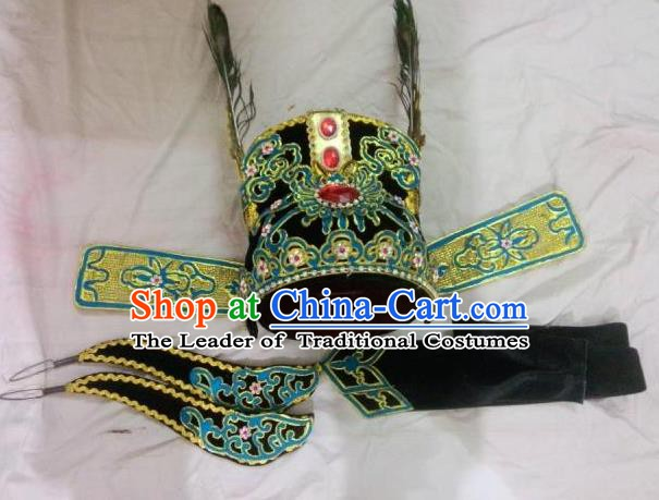 Traditional Chinese Beijing Opera Young Men Black Hats Peking Opera Niche Headwear