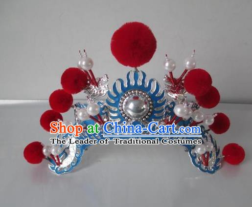 Traditional Chinese Beijing Opera Female Soldier Red Venonat Helmet Peking Opera Actress Headwear