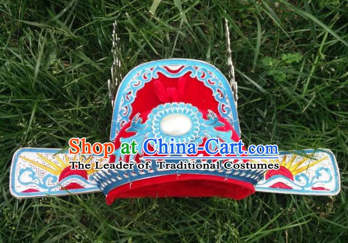 Traditional Chinese Beijing Opera Young Men Bridegroom Red Hats Peking Opera Niche Headwear