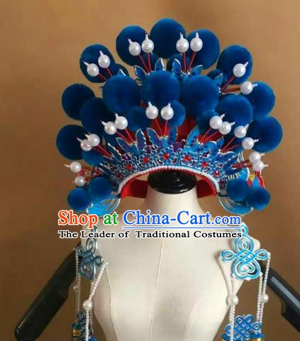 Traditional Chinese Beijing Opera Diva Blue Venonat Phoenix Coronet Peking Opera Actress Hats Headwear