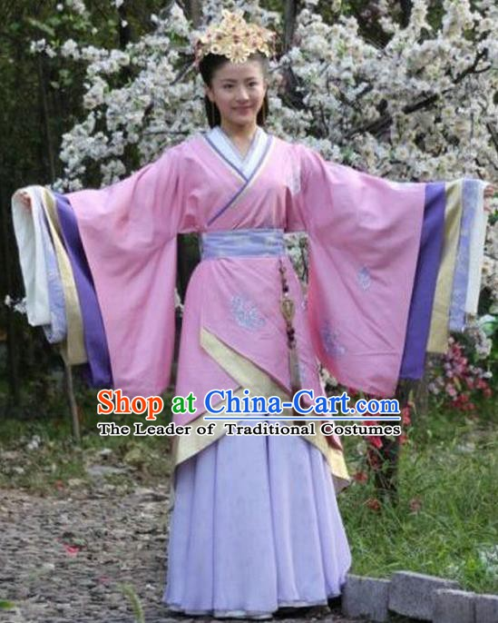 Chinese Han Dynasty Empress Chen A-jiao Hanfu Dress Ancient Queen Embroidered Replica Costume for Women