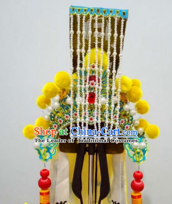 Traditional Chinese Beijing Opera Emperor Tassel Hats Peking Opera Royal King Headwear