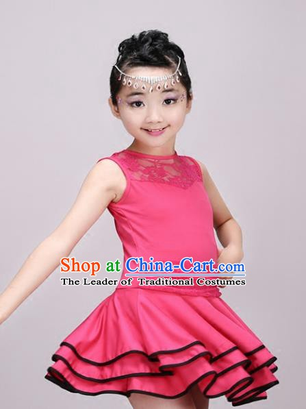 Top Grade Modern Dance Costume Stage Performance Latin Dance Pink Bubble Dress for Kids