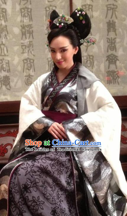 Ancient Chinese Han Dynasty Imperial Concubine Traditional Replica Costume Palace Lady Hanfu Dress for Women