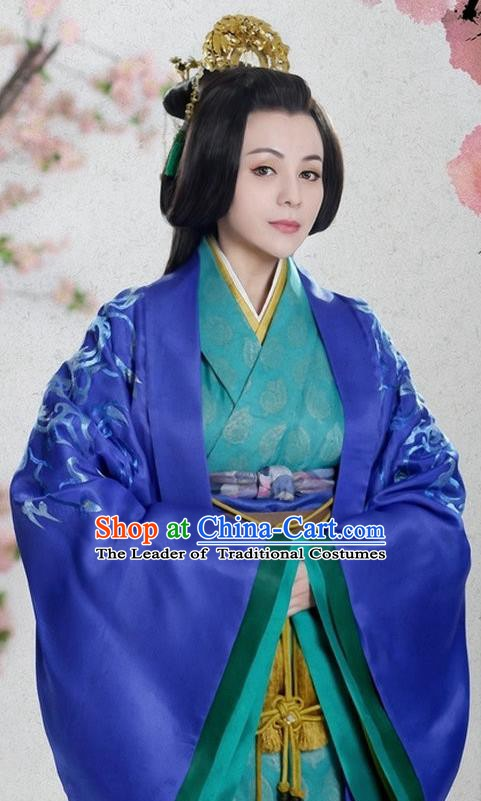 Ancient Traditional Chinese Han Dynasty Princess Consort Nan Yang Replica Costume Hanfu Dress for Women