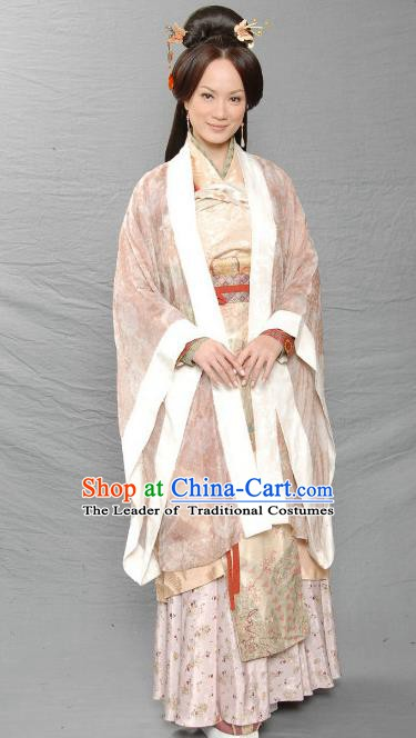 Chinese Ancient Three Kingdoms Period Dowager Gan of Liu Bei Hanfu Dress Replica Costume for Women