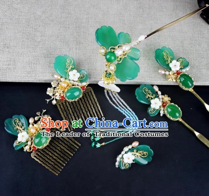 Chinese Ancient Handmade Hair Accessories Classical Hairpins Hanfu Butterfly Tassel Hair Clips Complete Set for Women
