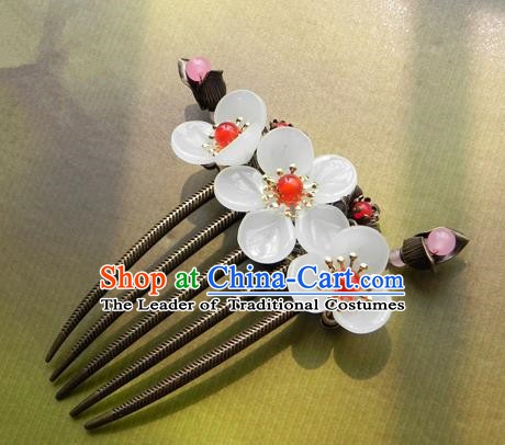 Chinese Ancient Handmade Hair Accessories Hairpins Classical Hanfu Red Beads Flowers Hair Comb for Women