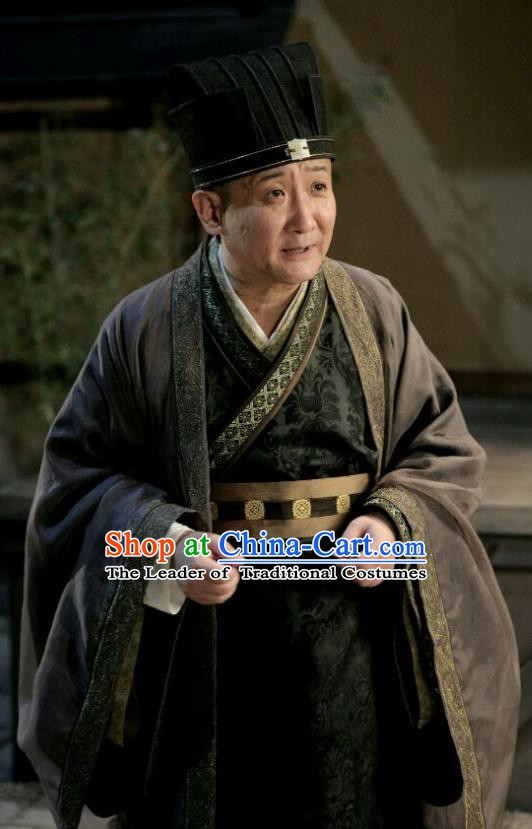 Traditional Chinese Wei and Jin Dynasties Prime Minister Replica Costume for Men