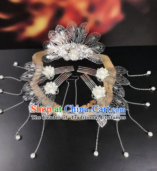 Chinese Ancient Handmade Hair Accessories Phoenix Coronet Classical Hanfu Hairpins Complete Set for Women