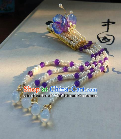 Chinese Handmade Ancient Hair Accessories Classical Hanfu Beads Tassel Hair Stick Hairpins for Women