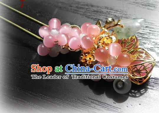 Chinese Handmade Ancient Jadeite Hairpins Hair Accessories Classical Hanfu Pink Beads Hair Stick for Women