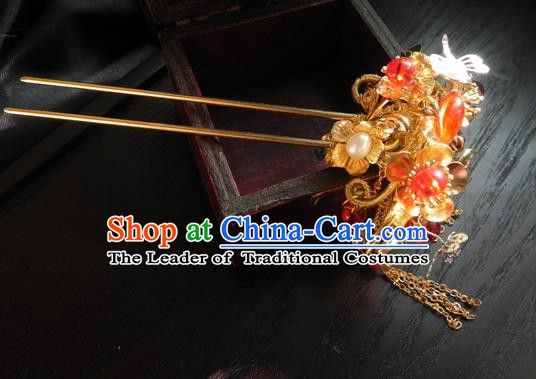 Chinese Handmade Ancient Hanfu Golden Butterfly Hairpins Hair Accessories Classical Hair Clip for Women