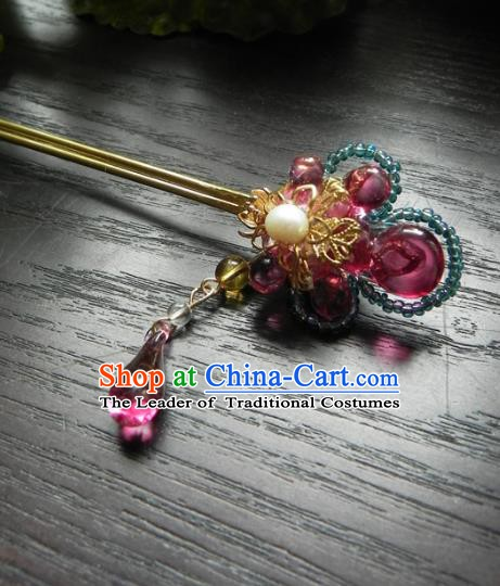 Chinese Handmade Ancient Hairpins Hair Accessories Classical Hanfu Crystal Hair Stick for Women
