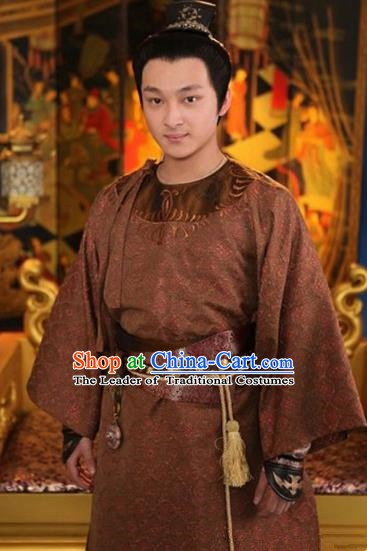 Chinese Ancient  Five Dynasties and Ten Kingdoms Prince Meng Qixing Replica Costume for Men