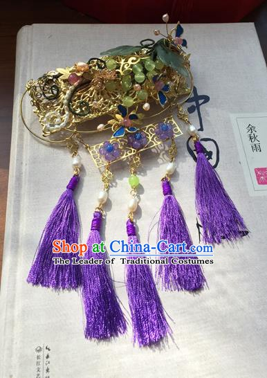 Chinese Ancient Hanfu Handmade Hairpins Hair Accessories Purple Tassel Hair Stick for Women