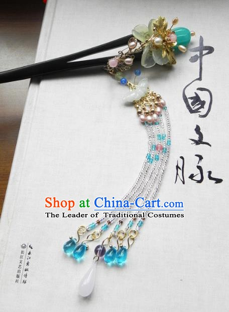 Chinese Ancient Hanfu Handmade Blue Beads Tassel Hairpins Hair Accessories Ebony Hair Clip for Women