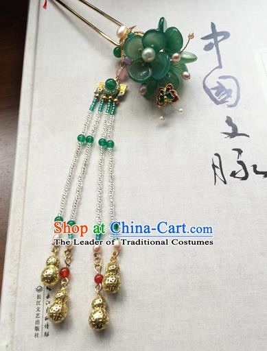 Chinese Ancient Hanfu Handmade Bells Tassel Hairpins Hair Accessories Hair Clip for Women