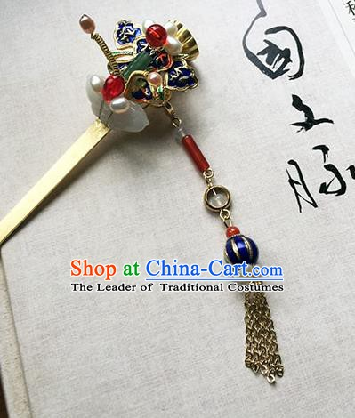 Chinese Ancient Hanfu Handmade Cloisonn Hairpins Hair Accessories Tassel Hair Clip for Women