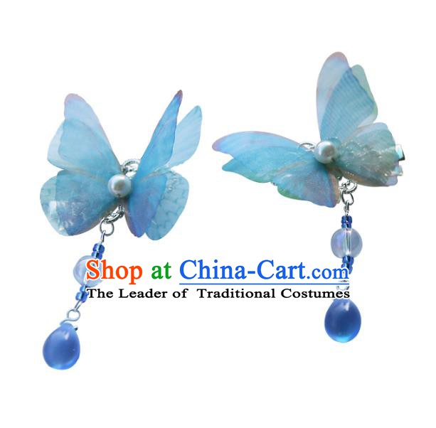 Chinese Ancient Handmade Hanfu Hairpins Palace Lady Blue Butterfly Hair Claws Hair Accessories for Women
