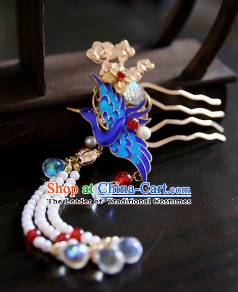 Chinese Ancient Handmade Hanfu Classical Tassel Hairpins Palace Lady Blueing Hair Comb Hair Accessories for Women