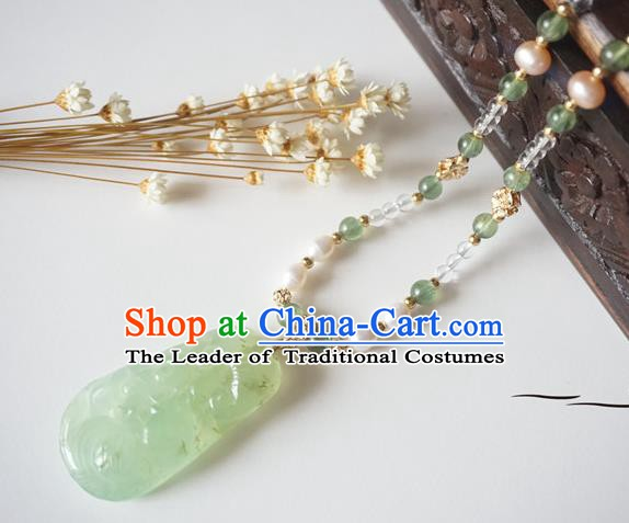 Chinese Handmade Ancient Jewelry Accessories Tassel Necklace Hanfu Jade Necklet for Women
