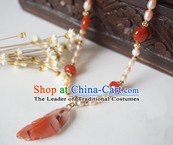 Chinese Handmade Ancient Jewelry Accessories Pearls Necklace Hanfu Jade Necklet for Women