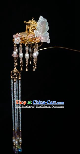 Chinese Ancient Handmade Shell Butterfly Tassel Step Shake Hanfu Hairpins Hair Accessories for Women