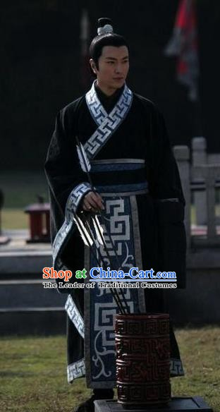 Chinese Ancient Spring and Autumn Period Prince Hanfu Swordsman Historical Costume for Men