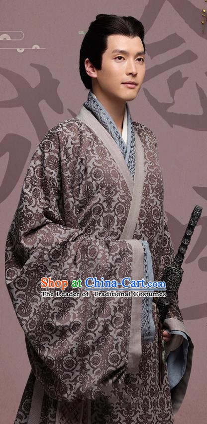 Chinese Ancient Eastern Han Dynasty General Wang Fu Historical Costume for Men