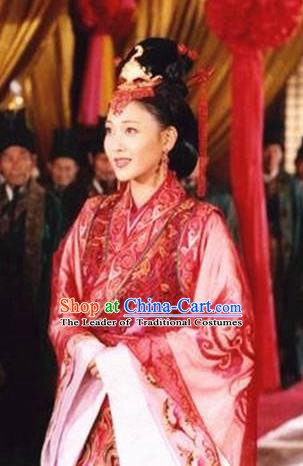 Chinese Ancient Han Dynasty Palace Lady Wang Zhaojun Wedding Hanfu Dress Replica Costume for Women