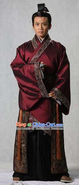 Chinese Ancient Han Dynasty Minister Marquis Shangguan Jie Historical Costume for Men