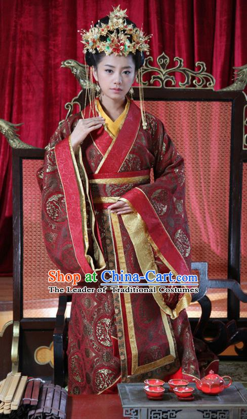 Chinese Spring and Autumn Period Wei State Princess Consort Wedding Hanfu Dress Ancient Palace Queen Replica Costume for Women