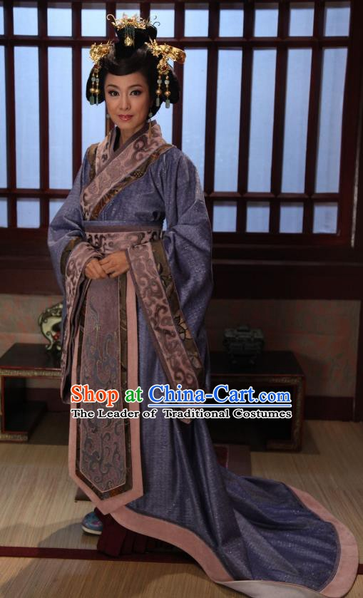Chinese Spring and Autumn Period Empress Dowager Hanfu Dress Ancient Queen Mother Replica Costume for Women