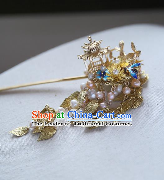 Chinese Ancient Hanfu Handmade Golden Leaf Tassel Hairpins Palace Lady Hair Clip Hair Accessories for Women