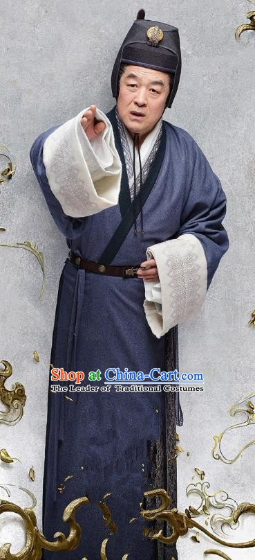 Ancient Chinese Eastern Han Dynasty Court Eunuch Historical Costume for Men