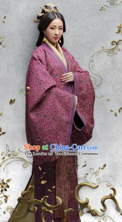 Chinese Eastern Han Dynasty Empress Cao Jie Hanfu Dress Ancient Queen Replica Costume for Women