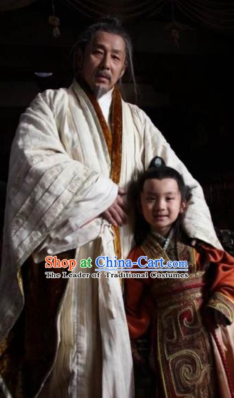Ancient Chinese Han Dynasty Emperor Liu Bang Historical Costume for Men