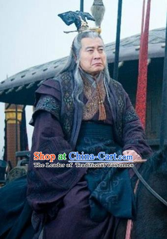 Traditional Chinese Ancient Qin Dynasty Minister Zhao Gao Historical Costume for Men