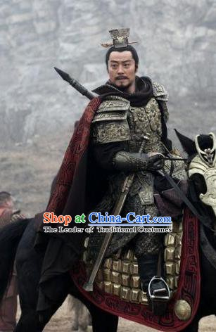Traditional Chinese Ancient King of Western Chu State Xiang Yu Historical Costume Helmet and Armour for Men