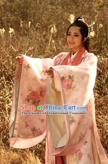 Chinese Ancient Three Kingdoms Period Wei State Imperial Concubine Zhen Mi Hanfu Dress Replica Costume for Women