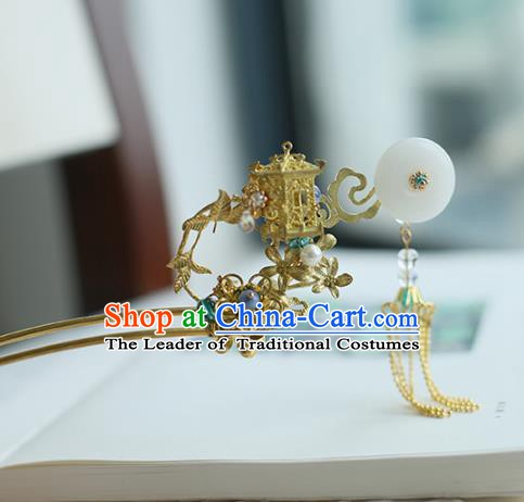 Chinese Ancient Hanfu Handmade Golden Pavilion Hairpins Tassel Hair Stick Hair Accessories for Women