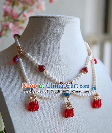 Ancient Chinese Handmade Hanfu Necklace Accessories Pearls Tassel Necklet for Women