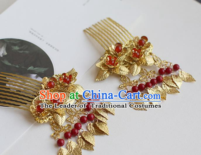 Chinese Ancient Hanfu Handmade Hairpins Golden Tassel Hair Comb Hair Accessories for Women