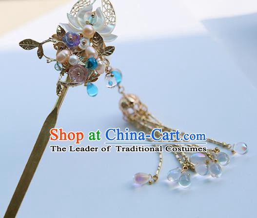 Chinese Ancient Hanfu Handmade Tassel Lotus Hairpins Hair Clip Step Shake Hair Accessories for Women