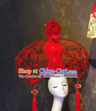Top Grade China Ancient Hair Accessories Red Vase Palace Hair Crown Stage Performance Headdress for Women