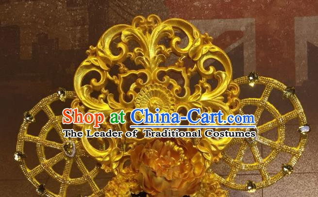 Top Grade China Hair Accessories Golden Phoenix Coronet Stage Performance Ancient Palace Headdress for Women