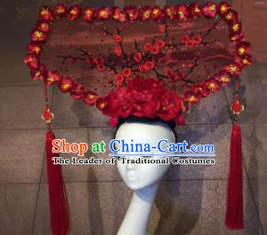 Top Grade China Catwalks Hair Accessories Qing Dynasty Wintersweet Headwear Stage Performance Headdress for Women