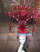 Top Grade China Ancient Qing Dynasty Palace Hair Accessories Stage Performance Pink Flowers Headdress for Women